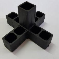 3D5 Kreuz mit Abgang schwarz für Alurohr 20x20x1,5mm