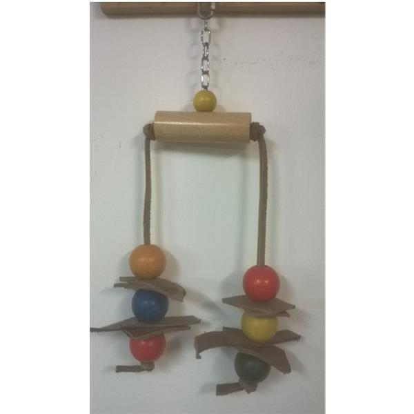 Spielzeug schaukel mit bunten spielkugeln für großsittich