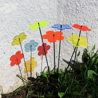 5x große Sonnenfänger SunCatcher Garten Dekoration H75cm Ø15cm  Blossom, bunt