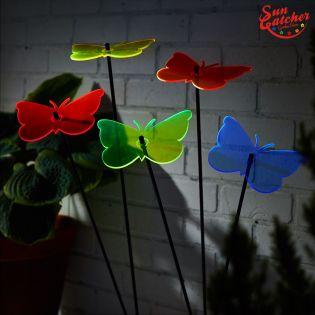 5x große Sonnenfänger SunCatcher Garten Dekoration H75cm Ø15cm  Gatekeeper Butterfly, bunt