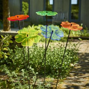 5x große Sonnenfänger SunCatcher Garten Dekoration H75cm Ø15cm  Double Blossom, bunt