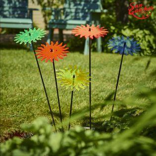 5x große Sonnenfänger SunCatcher Garten Dekoration H75cm Ø15cm  Smiling Sun, bunt