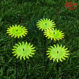 5x große Sonnenfänger SunCatcher Garten Dekoration H75cm Ø15cm  Smiling Sun, gelb