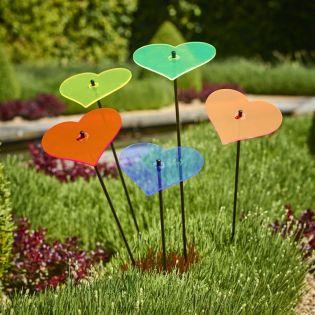 5x große Sonnenfänger SunCatcher Garten Dekoration H75cm Ø15cm  Hearts, bunt