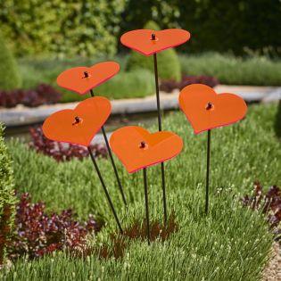 5x große Sonnenfänger SunCatcher Garten Dekoration H75cm Ø15cm  Hearts, rot