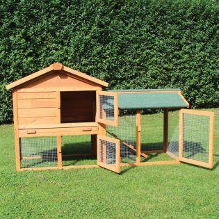 Kaninchenstall, Kleintierstall, Hasenstall Klopfer - mit hochwertiger Kunststoffschublade